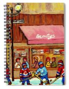 Beauty's Restaurant Paintings Of Plateau Montreal Winter Scenes Hockey Art Carole Spandau  Spiral Notebook