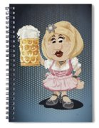 Beer Stein Dirndl Oktoberfest Cartoon Woman Grunge Color Spiral Notebook