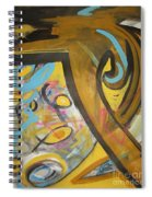 Being Easy Original Abstract Colorful Figure Painting For Sale Yellow Umber Blue Pink Spiral Notebook