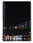 Benjamin Franklin Bridge At Night Panarama Spiral Notebook