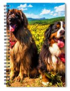 Bernese Mountain Dog And Leonberger Among Wildflowers Spiral Notebook