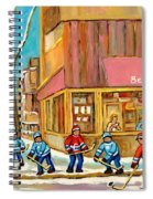 Best Sellers Original Montreal Paintings For Sale Hockey At Beauty's By Carole Spandau Spiral Notebook