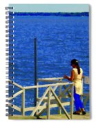 Between Sky And Sea Lachine Canal Viewing Pier Picturesque Water Scenes Montreal Art Carole Spandau Spiral Notebook