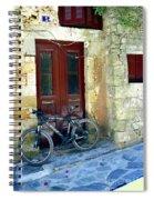 Bicycle Of Santorini Spiral Notebook