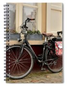 Bicycle With Baby Seat At Doorway Bruges Belgium Spiral Notebook