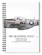 Big Beautiful Doll P-51d Mustang - White Background Spiral Notebook
