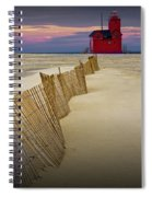 Big Red Lighthouse With Sand Fence At Ottawa Beach Spiral Notebook