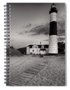 Big Sable Point Lighthouse In Black And White Spiral Notebook