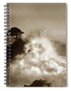 Big Wave Hitting The Lone Cypress Tree Pebble Beach California 1916 Spiral Notebook
