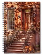 Bike - Ny - Greenwich Village - An Orange Bike  Spiral Notebook