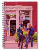 Bikes Backpacks And Cold Beer At The Local Corner Depanneur Montreal Summer City Scene  Spiral Notebook
