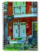 Bikes Balconies Brick Houses Flower Boxes Verdun Duplex Stairs Summer Scenes Carole Spandau Spiral Notebook