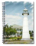 Biloxi Lighthouse Sketch Photo Spiral Notebook