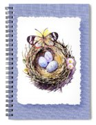 Bird Nest With Daisies Eggs And Butterfly Spiral Notebook