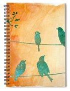 Birds Gathered On Wires-5 Spiral Notebook