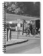 Black And White Amish Horse And Buggy Spiral Notebook