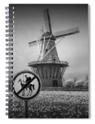 Black And White No Tilting At Windmills Spiral Notebook