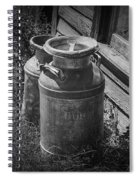 Black And White Old Prairie Homestead Vintage Creamery Cans Near The Badlands Spiral Notebook