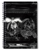 Black And White Orchid Flowers Growing Through Old Wooden Pictur Spiral Notebook