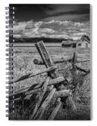 Black And White Photo Of A Wood Fence At The John Moulton Farm Spiral Notebook