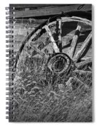 Black And White Photo Of An Old Broken Wheel Of A Farm Wagon Spiral Notebook