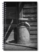 Black And White Photograph Of Vintage Creamery Can By The Old Homestead In 1880 Town Spiral Notebook
