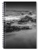 Black And White Photograph Of Waves Crashing On The Shore At Sand Beach Spiral Notebook