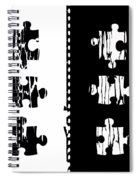 Black And White Puzzles Digital Painting Spiral Notebook
