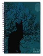 Black Cat In The Moonlight Blue Spiral Notebook