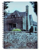 Black Cat On A Stone Wall By House Spiral Notebook