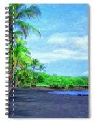 Black Sand Beach At Punaluu Spiral Notebook