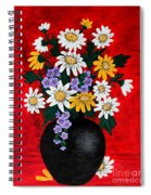Black Vase With Daisies Spiral Notebook