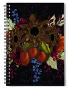 Black With Flowers And Fruit Spiral Notebook