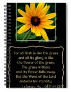 Blackeyed Susan With Bible Quote From 1 Peter Spiral Notebook