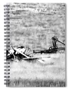 Black And White Of Old Farm Equipment Spiral Notebook