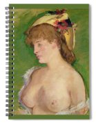 Blonde With Bare Breasts Spiral Notebook