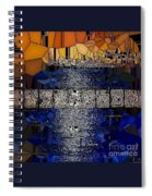 Blue And Gold Stained Abstract Spiral Notebook