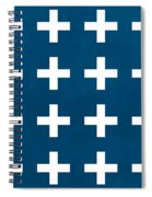 Blue And White Plus Sign Spiral Notebook