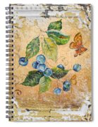 Blue Berries And Butterfly On Vintage Tin Spiral Notebook
