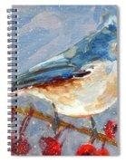 Blue Bird In Winter - Tuft Titmouse Modern Impressionist Art Spiral Notebook