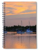 Blue Boats At Sunset Spiral Notebook