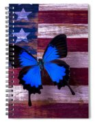 Blue Butterfly On American Flag Spiral Notebook
