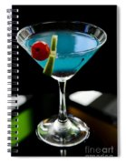 Blue Cocktail With Cherry And Lime Spiral Notebook