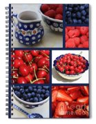 Blue Dishes And Fruit Collage Spiral Notebook