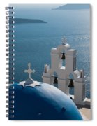 Blue Domed Church In Santorini Greece Spiral Notebook