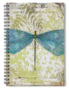 Blue Dragonfly On Vintage Tin Spiral Notebook