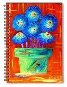 Blue Flowers On Orange Spiral Notebook