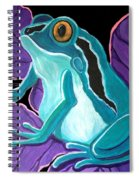 Blue Frog Purple Flower Spiral Notebook