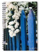 Blue Garden Fence With White Flowers Spiral Notebook
