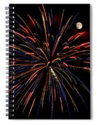 Blue Gold Pink And More - Fireworks And Moon Spiral Notebook